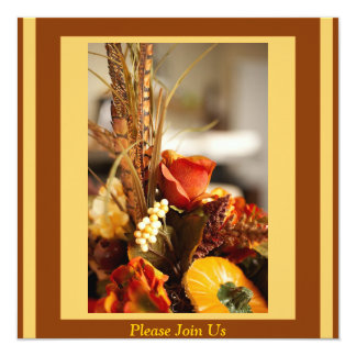 Flores en colores del otoño - invitación 13,3 cm x 13,3cm