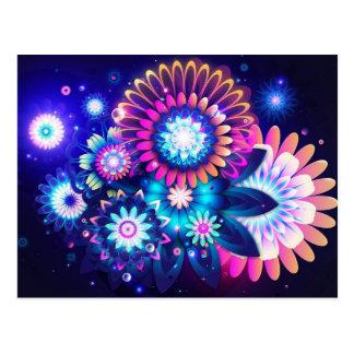 Flores en colores pastel abstractas postal