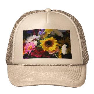 Flores en el mercado de los granjeros gorras