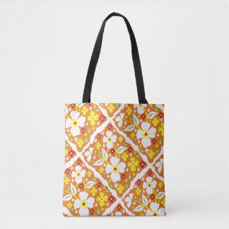 Flores en el naranja bolsa de tela