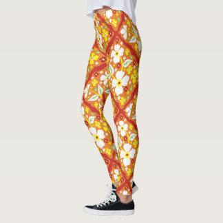 Flores en el naranja leggings