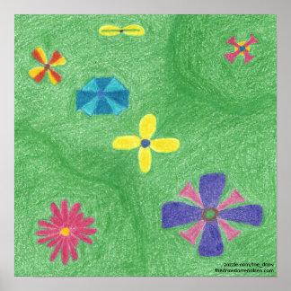 Flores en el poster herboso de las colinas póster