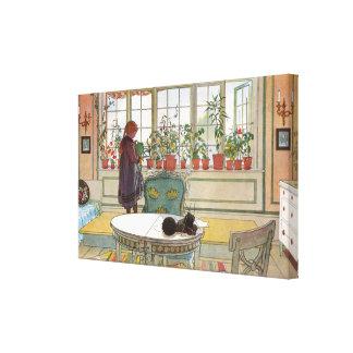 Flores en el Windowsill de Carl Larsson Impresión En Lienzo