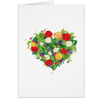 Flores en forma de corazón tarjeta