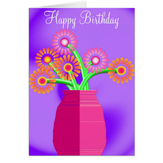 Flores en un florero tarjeta de felicitación