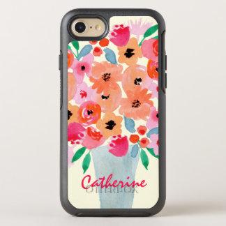 Flores en un monograma de la acuarela del florero funda OtterBox symmetry para iPhone 8/7