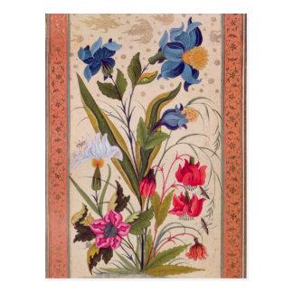 Flores exóticas con los insectos postal