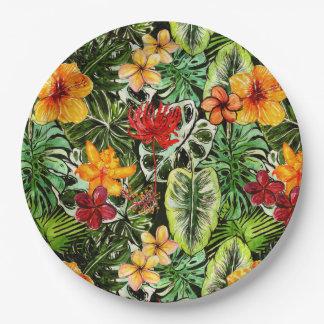 Flores exóticas de la flor de la selva del vintage plato de papel