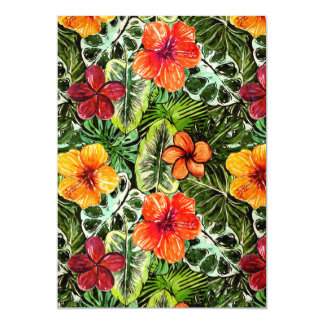 Flores exóticas de la selva de la hawaiana invitación 12,7 x 17,8 cm