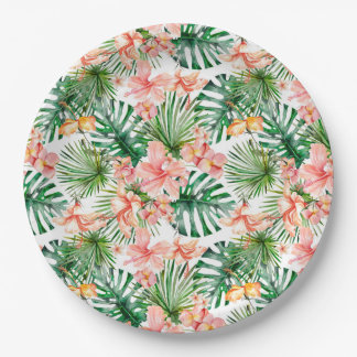 Flores exóticas tropicales del hibisco de la selva plato de papel
