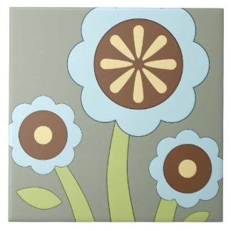 Flores felices azulejo cuadrado grande