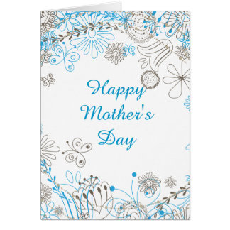 Flores felices del azul del día de madre tarjeta de felicitación