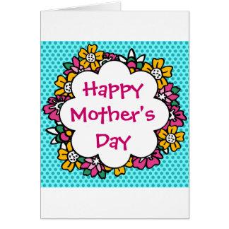 Flores felices del día de madre tarjeta de felicitación