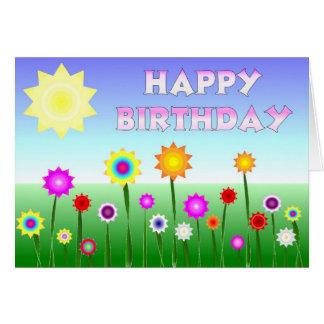 Flores felices del feliz cumpleaños tarjeta