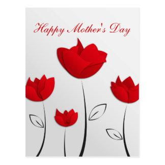 Flores felices del rojo del día de madre postal