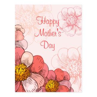 Flores felices del rosa del día de madre postal