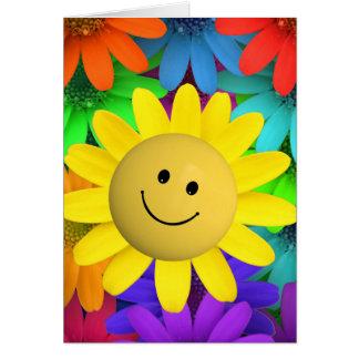 Flores felices lindas de la cara felicitación