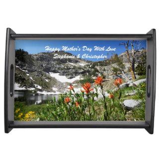 Flores felices personalizadas de las montañas del bandejas