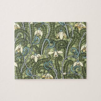 Flores florales de Nouveau Snowdrop del arte del Puzzle