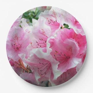 Flores florales rosados de Falln Plato De Papel