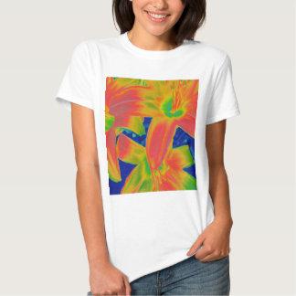 flores fluorescentes camisetas