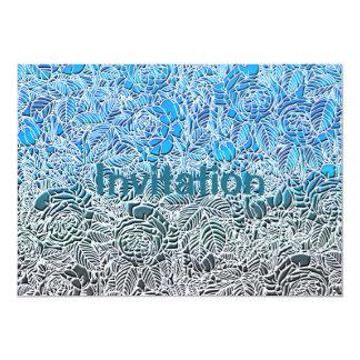 Flores fluorescentes metálicas azules invitación 12,7 x 17,8 cm