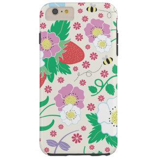 Flores, fresas, y abejas funda resistente iPhone 6 plus