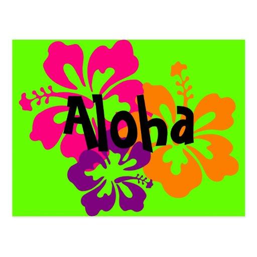 Flores hawaianas intrépidas y brillantes postal