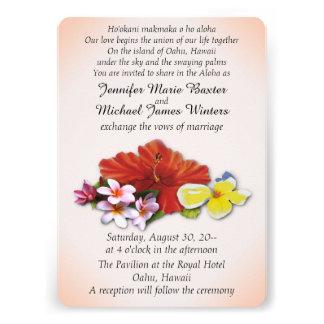 Flores hawaianas que casan invitaciones comunicado