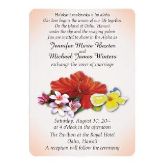 Flores hawaianas que casan invitaciones invitación 12,7 x 17,8 cm