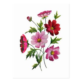 Flores hermosas del cosmos en bordado de la lana postal