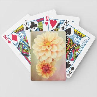 Flores hermosos de la dalia en tonalidades baraja de cartas bicycle