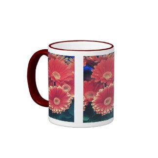 Flores inclinadas blanco tazas de café