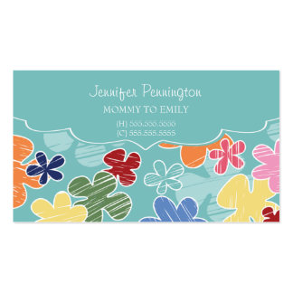 Flores lindas mamá o padre que llama la tarjeta de tarjetas de visita