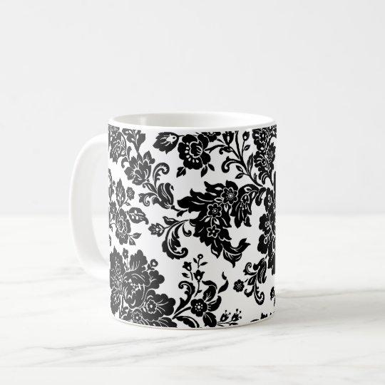 Flores modernas negras taza de café