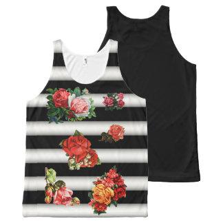 Flores - negro borroso y el blanco raya el fondo camiseta de tirantes con estampado integral