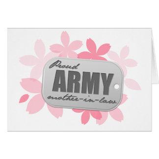 Flores orgullosas de la suegra del ejército tarjeta de felicitación