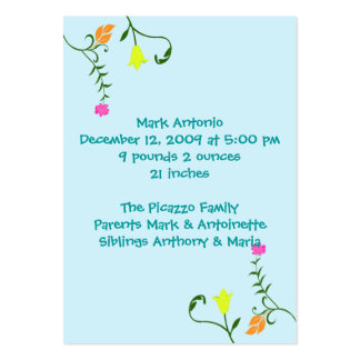 Flores para las tarjetas de la invitación del naci tarjetas de visita