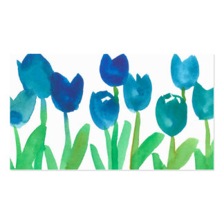 Flores pintadas jardín de la acuarela del tulipán tarjetas de visita