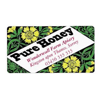 Flores puras del amarillo de la miel etiquetas de envío
