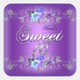 Flores púrpuras blancas del dulce dieciséis del pegatina cuadrada