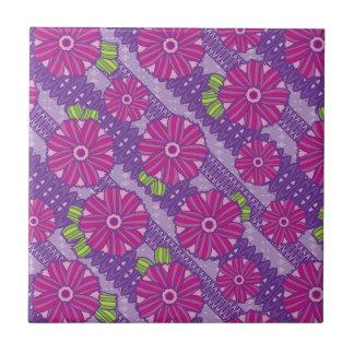Flores púrpuras de Boho Azulejo Cuadrado Pequeño