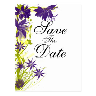 Flores púrpuras de la isla que casan reserva la postal
