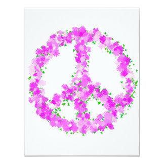 flores púrpuras de la paz invitación 10,8 x 13,9 cm