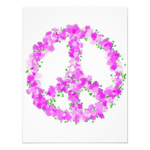 flores púrpuras de la paz invitaciones personalizada