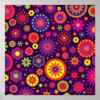 Flores púrpuras del arco iris del Hippie Póster