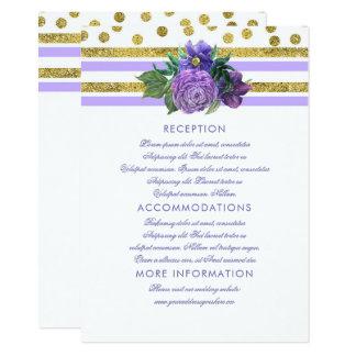 Flores púrpuras del ciruelo que casan la tarjeta invitación 11,4 x 15,8 cm