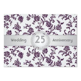Flores púrpuras del damasco, 25to aniversario de invitación 11,4 x 15,8 cm