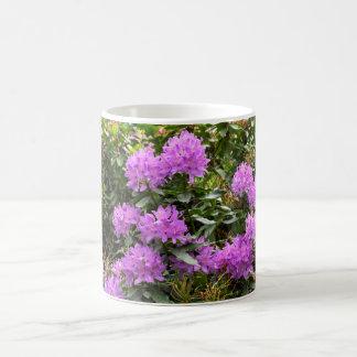 Flores púrpuras del rododendro taza de café