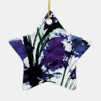 Flores púrpuras florales modernas en las brisas adorno de cerámica en forma de estrella